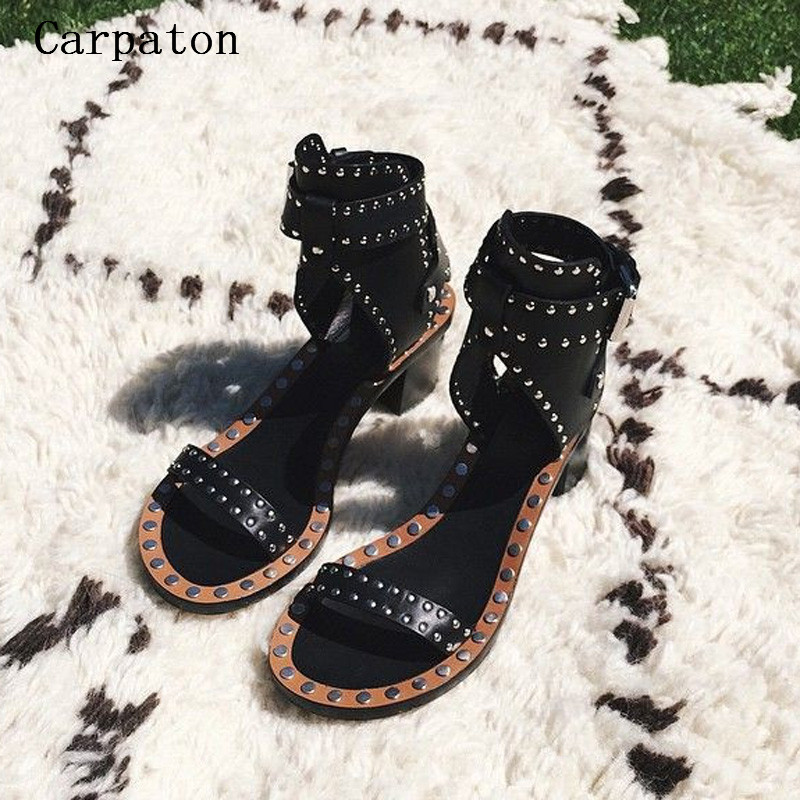 Summer Party Sandals Gladiator Women Shoes Ankle Buckle Cut-Out Sexy Rivets Sandels Open Toe Stud Sandals phyanic 2017 gladiator sandals gold silver shoes woman summer platform wedges glitters creepers casual women shoes phy3323