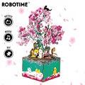 Europa Koper Super Deal Robotime DIY Kleine Robot Uitvoerder Houten Puzzel Spel Montage Muziekdoos Speelgoed voor Kinderen AMD53