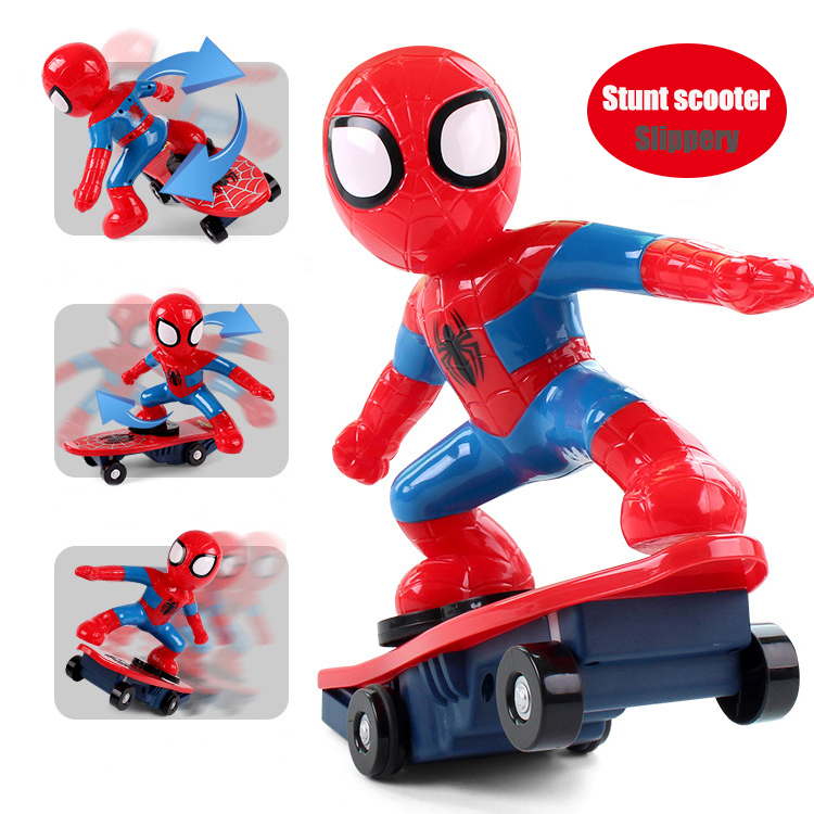 28CM For Spider Man Car-Styling Toy <font><b>Spiderman</b></font> <font><b>Stunt</b></font> Car With Skateboard The Best Gift For Child
