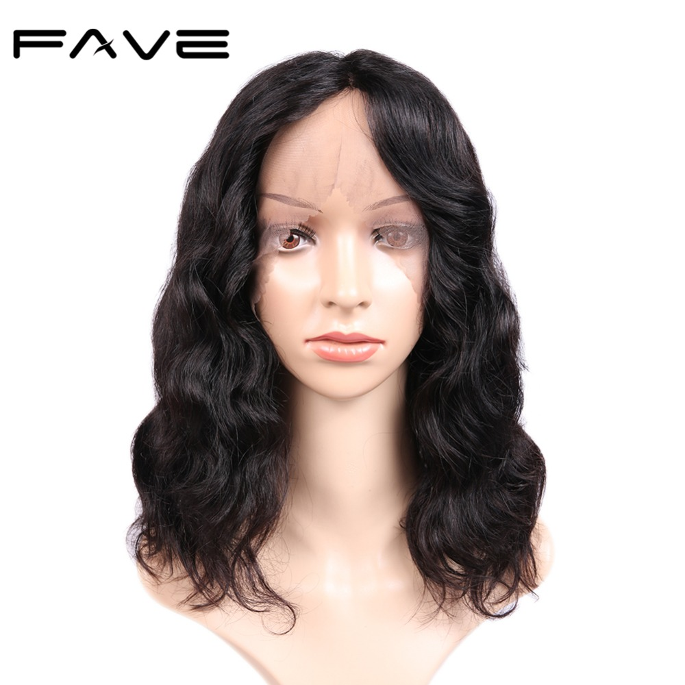 FAVE Lace Front Wigs Natural Wave Pre Plucked Bleached Knots Human Remy Brazilian Wigs 12 Inches For Black Women Free Shipping