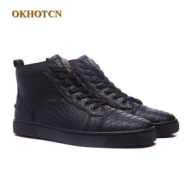 b5b87eb8a9a7 Mode Stil Runde Kappe High Top Solide Sneakskin Leder Herren Schuhe Casual Schuh  Lace Up Luxus