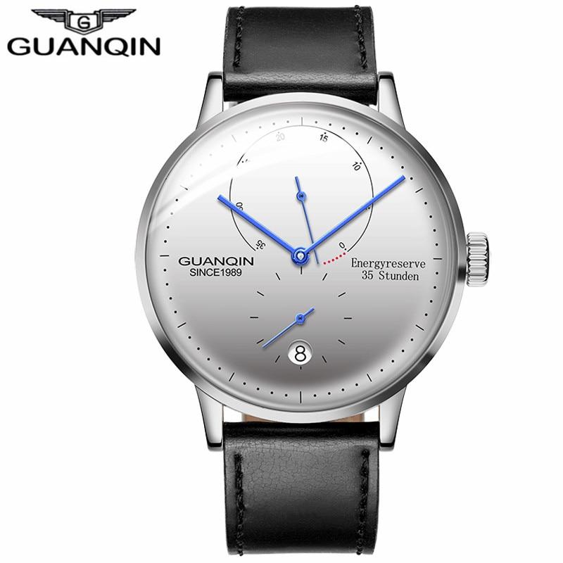 2018 GUANQIN для мужчин часы лучший бренд класса люкс для мужчин автоматические механические часы повседневное световой кожаный ремешок наручн.....