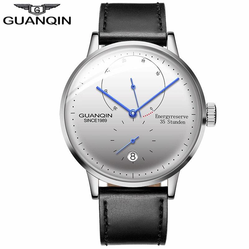 2018 GUANQIN montre Homme Top Marque De Luxe Hommes Automatique Mécanique Montre Casual Lumineux Bracelet En Cuir Montre-Bracelet dropshipping