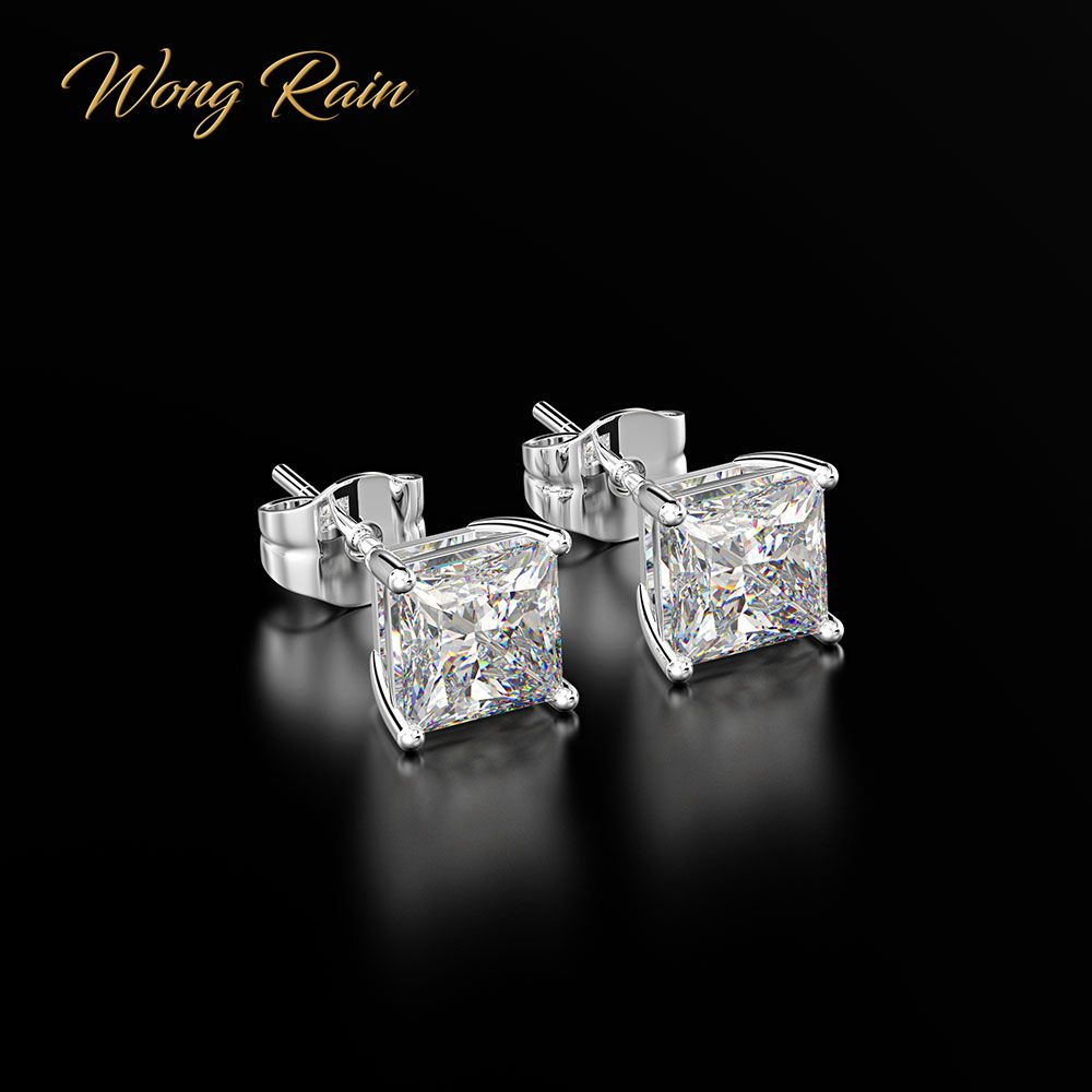 Wedding-Earrings Fine-Jewelry Moissanite Created Gemstone 100%925-Sterling-Silver Wong Rain title=