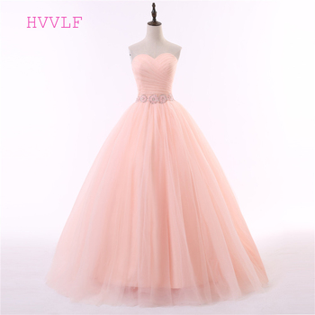 Coral Cheap Quinceanera Dresses Ball Gown Sweetheart Floor Length Tulle Beaded Crystals Sweet 16 Dresses