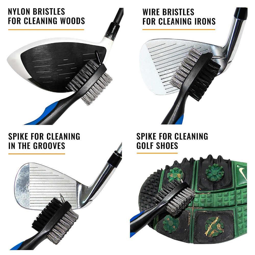 Щетка для чистки инструмента для гольфа Двухсторонняя щетка для клюшек для гольфа Чистящая щетка 1 шт. щетина оборудование для гольфа с крюком черный красный синий палец десять