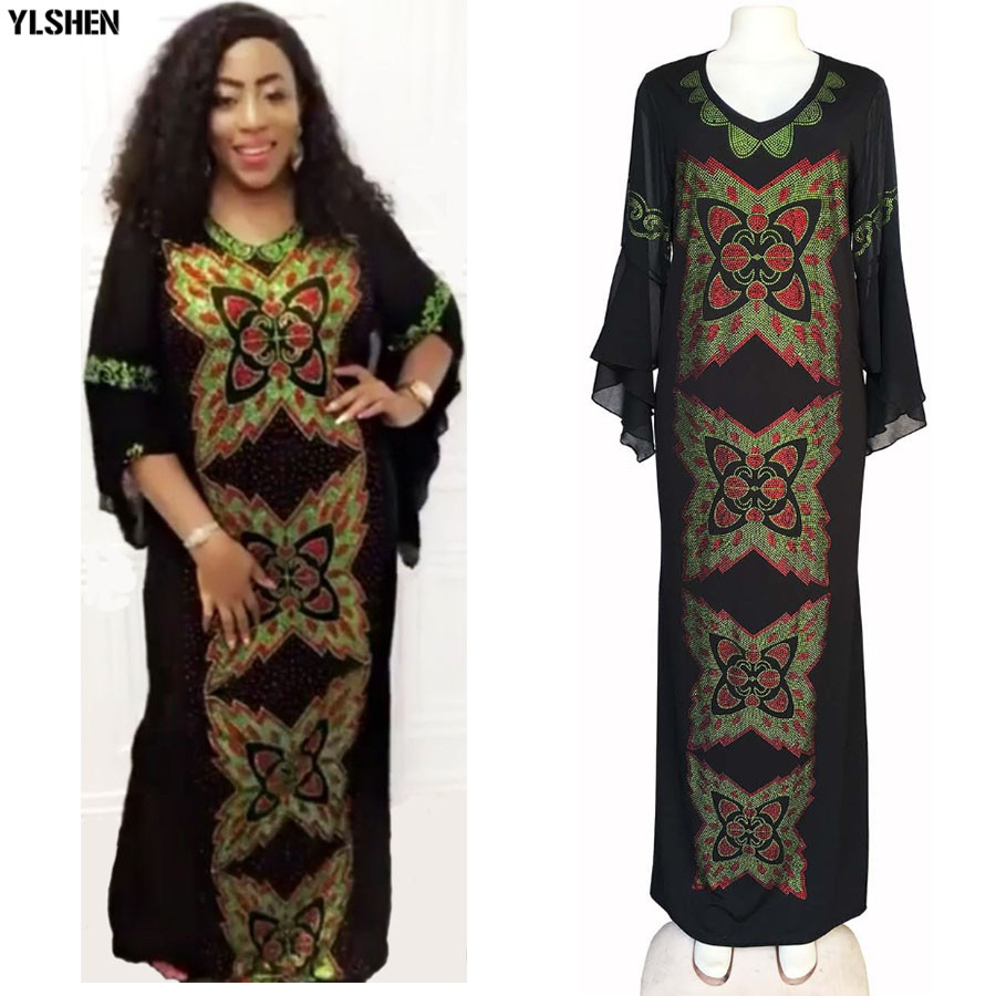 Dashiki African Dresses For Women Robe Africaine Vetement Femme 2019 African Clothes Diamond Butterfly Slim Fishtail Bazin Dress