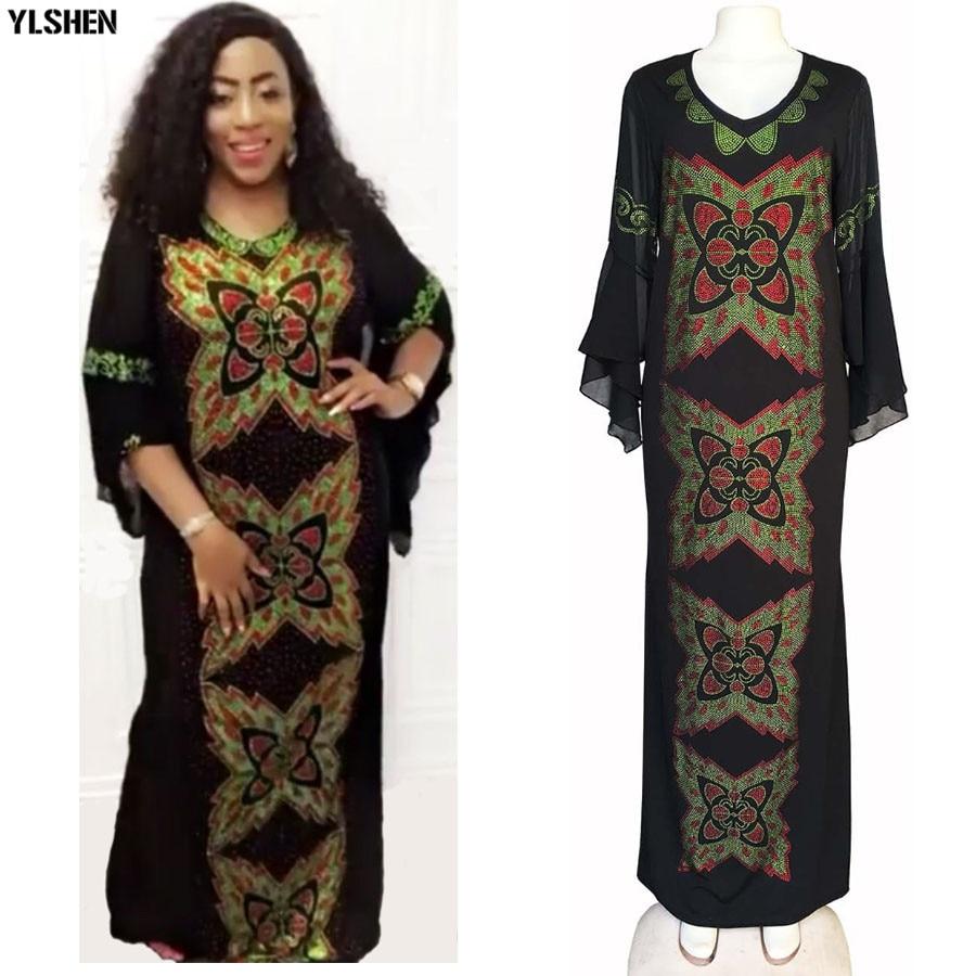 Dashiki African Dresses For Women Robe Africaine Vetement Femme 2019 African Clothes Diamond Butterfly Slim Fishtail Bazin Dress