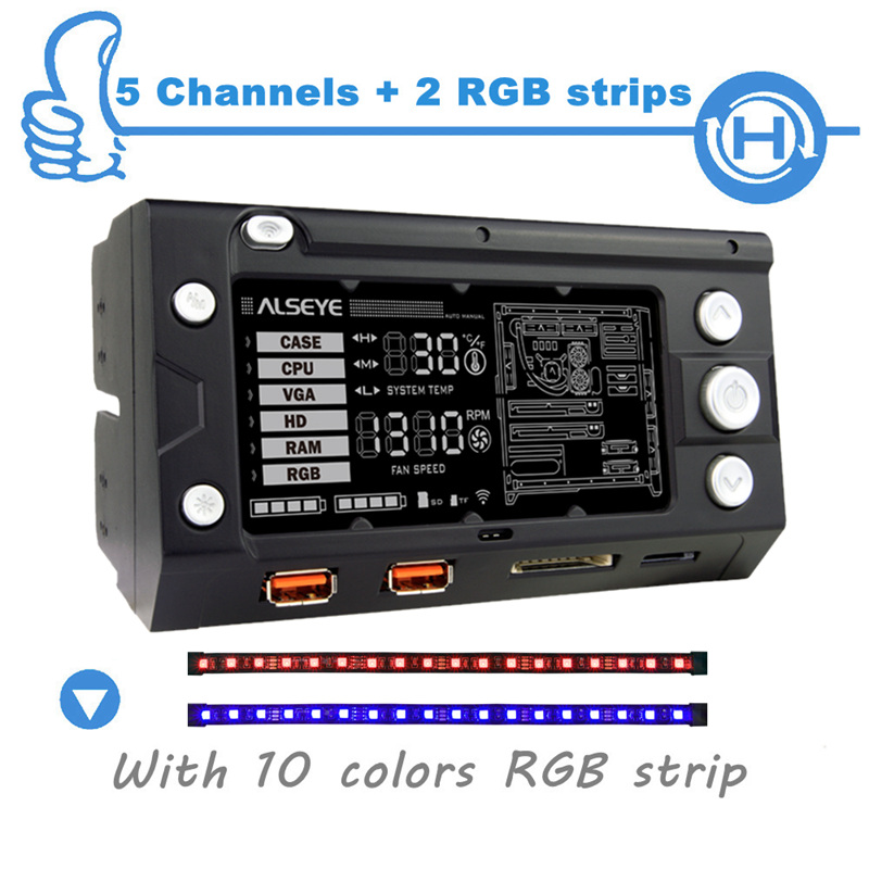 Wholesale ALSEYE Fan Controller 5 Channels Fan Speed and 2 Channels RGB Control LCD Disply Screen alseye x 200 fan controller computer fan speed and rgb controller 5 channels wifi function 2 rgb led strips sd tf card reader
