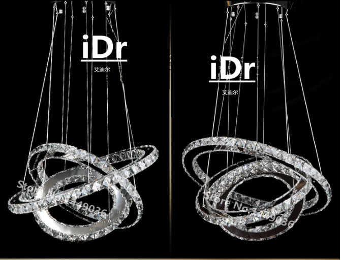 3リングクリスタルledシャンデリア照明器具クリスタルライト光沢ぶら下げサスペンションライト用ダイニングルーム、ホワイエ、階段c-