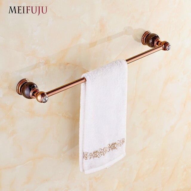 Luxury Bathroom Accessories Rose GoLD Marble Single Towel Bars Hotel Jade Rack Brass Holder Hardware Sets Bath Products