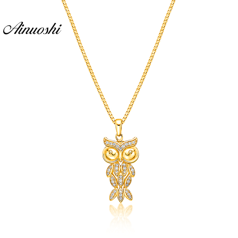 AINUOSHI 10K Solid Yellow Gold Pendant Little Owl Pendant SONA Diamond Women Men Child Jewelry Cute