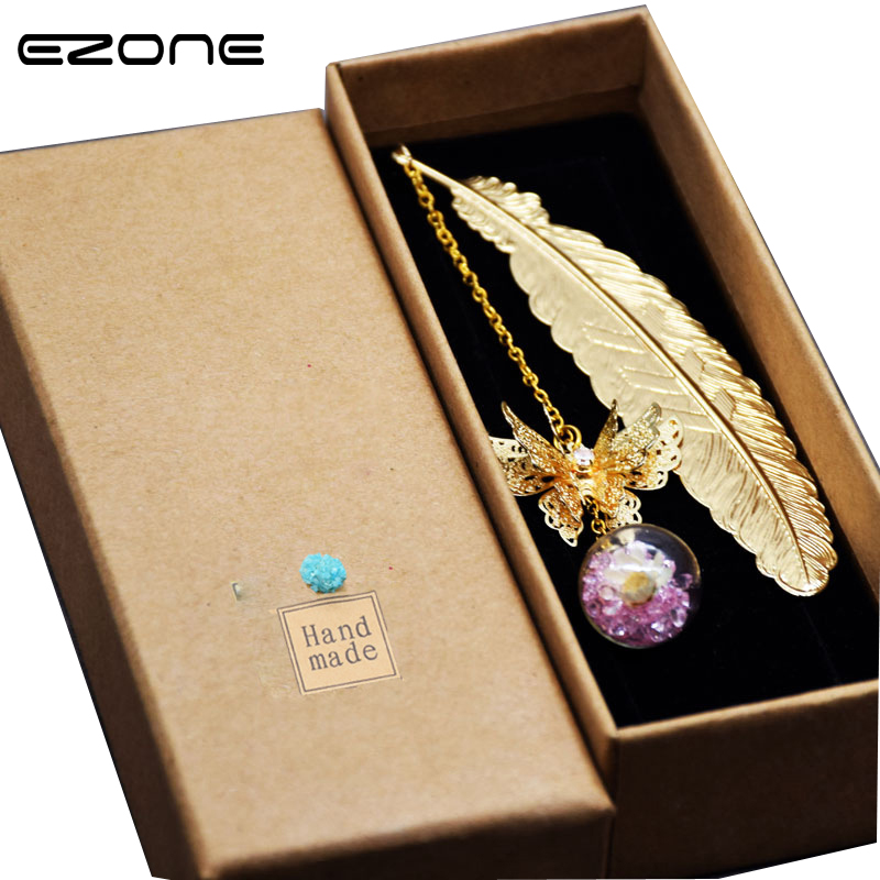EZONE 1PC Retro Vintage Feather Bookmark Exquisite Gift Box Bookmarks Creative Stationery Gift For Friend School Office Supply