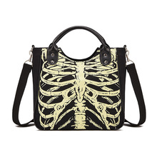 JIEROTYX Black Gothic Punk Handbag Woman Package Rivet Canvas Single Shoulder Printing Halloween Noctilucent