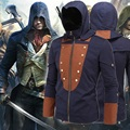 Assassins creed assassins creed traje chaqueta unidad arno hoodie negro con sombra azul con 5 parches intercambiables M-5XL z004