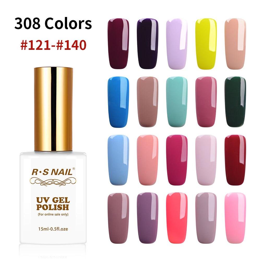 RS 15ml nail gel polish 308 colors gel varnish #121-140 uv led  gel lacquer manicure a set of gel varnishes