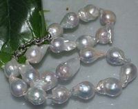 charm accessory choker shone> Natural Rare gray 14*22mm Baroque nucleated perl Necklace