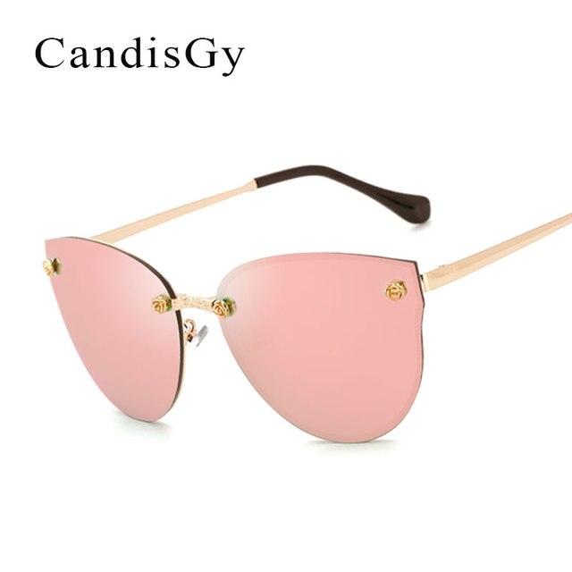 17811c8f64 Cat Eye Rose Gold Flowers Oversized Super Star Sunglasses Mirror Women  Fashion Brand Designer Sun Glasses