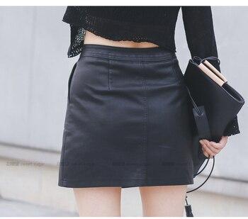 2019 Autumn Winter Women Skirt PU Leather Sexy Mini Skirt With Pockets Zipper A-line Package Hip High Waist Women Clothing 3