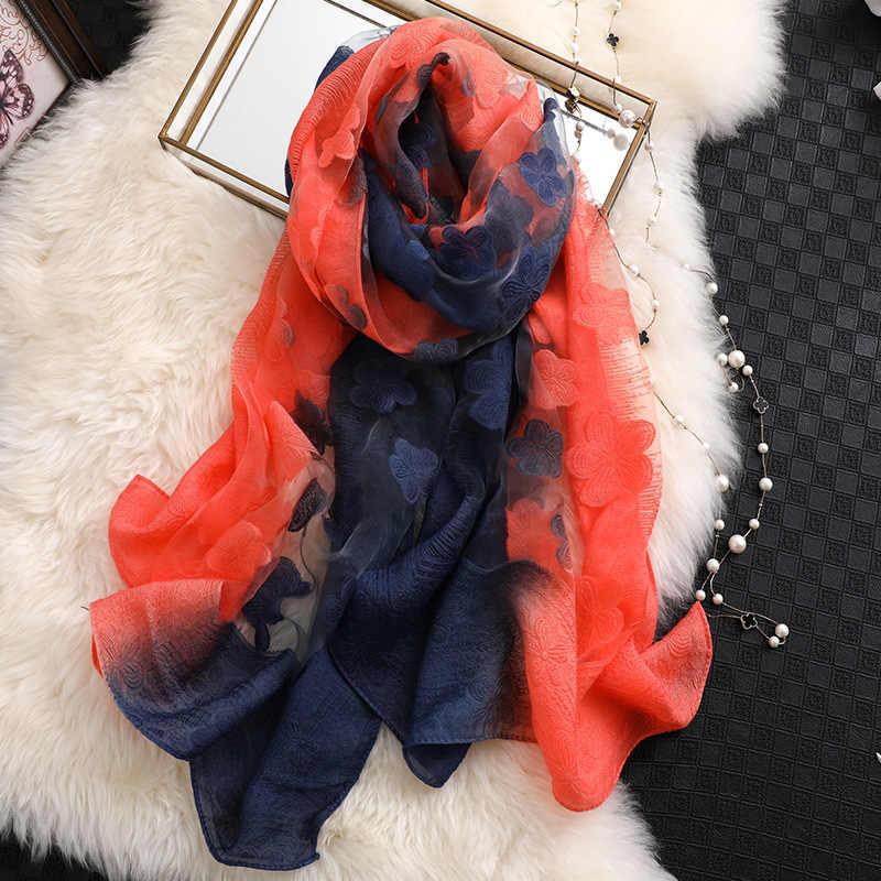 2019 designer marca mulheres lenço lenços de seda de verão para senhora pashmina tamanho longo xailes wraps hijabs lenços foulard bandana no pescoço