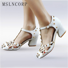 plus size 34-43 New Arrivals Fashion Sandals Dress Party Shoes Ankle T Strap Women Punk Rivets Sexy High Heels Gladiator Shoes women sandals platform size fashion hoof high heels sexy party for ladies shoes ankle buckle strap rivets decoration sandals