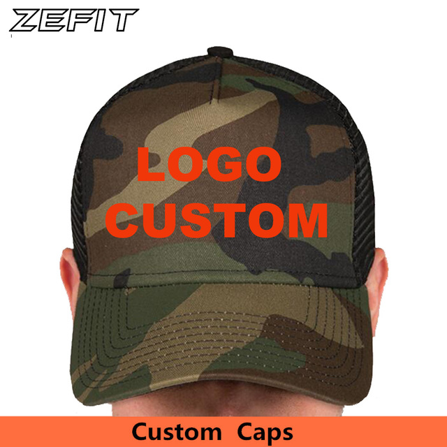 fa2e1dfde5267 Full Customization Trucker Baseball Caps Custom Embroidery Printing Logo  BLack Mesh Curved Brim Hats Adult Kids