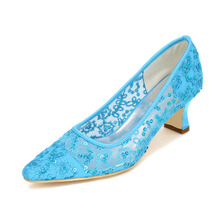 Sparkling sequins see through lace air mesh stunning lady shoes pointed toe low heel party shoes hot pink sky blue gold ivory