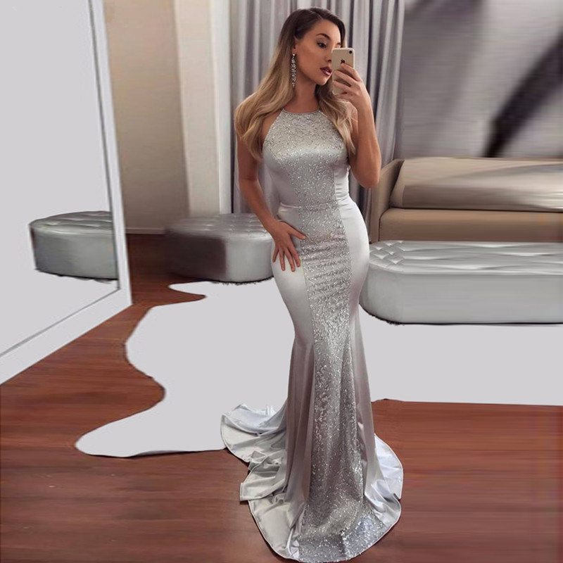 Silver Robe De Soiree 2019 Mermaid Halter Appliques Elegant Backless Sexy Long   Prom     Dresses     Prom   Gown Evening   Dresses