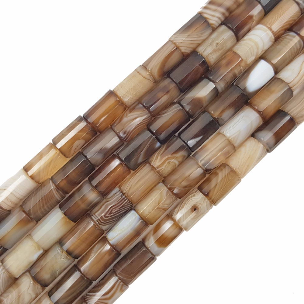 Natural Stone Brown Color Onyx Agates Cylinder Tube Shape Faceted Beads Approx 8x12mm Loose Beads for DIY Jewelry 38cm