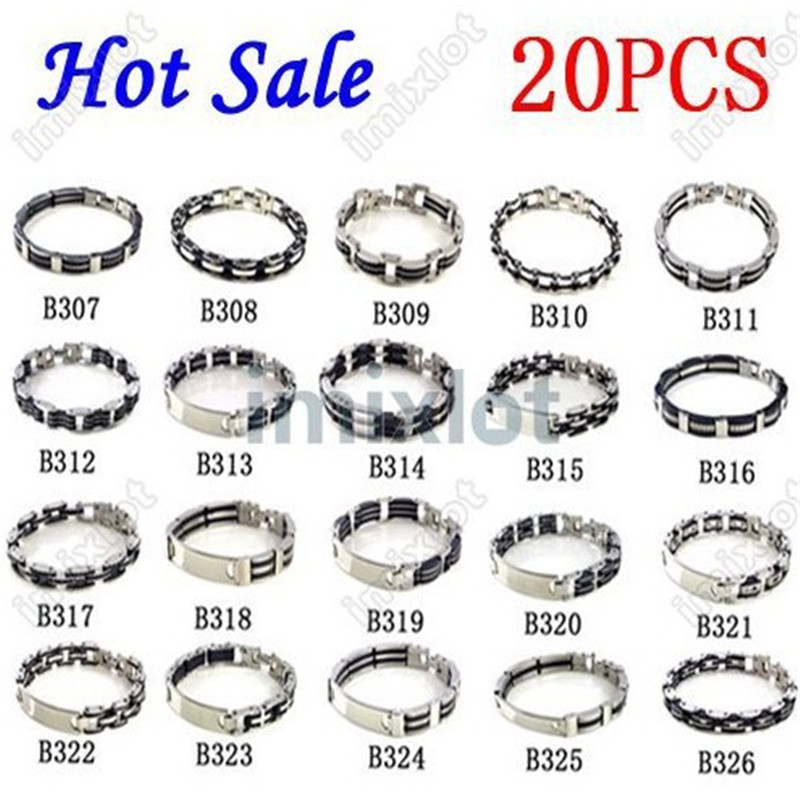PINKSEE Mixed 20Pcs Lot Rubber 316L Stainless Steel Bracelet Bangle Cuff Men Fashion Charm Wristbands Jewelry