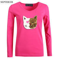 SEPTDEER Europe New Autumn Plus Size Long Sleeve Female Cotton Change Color Sequined Cat T Shirt