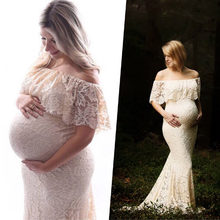 Lace Maternity Dresses For Photo Shoot Long Pregnant Dress Pregnancy Dress Photography Maxi Vestidos Clothes For Pregnant Women(China)