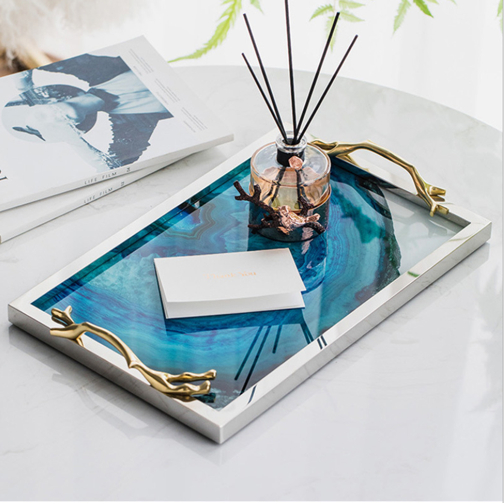 Image 2 - Modern Light Luxury Lake Blue Agate Pattern Rectangular Living Room Kitchen Glass Cup Tray Table Storage Tray Serving Platter-in Storage Trays from Home & Garden