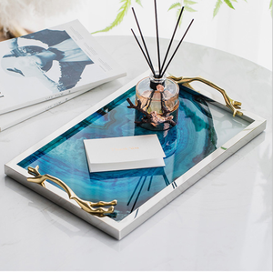 Image 2 - Modern Light Luxury Lake Blue Agate Pattern Rectangular Living Room Kitchen Glass Cup Tray Table Storage Tray Serving Platter