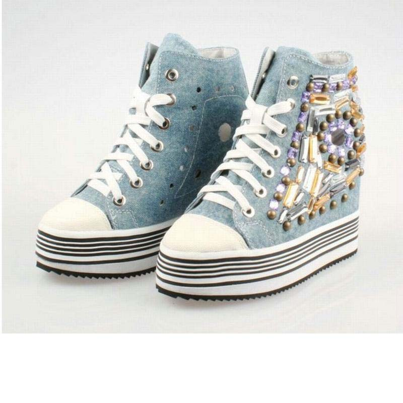 hot 2017 thick sole platform high top denim canvas walking casual shoes super breathable cut-out handmade rhinestone women shoes image