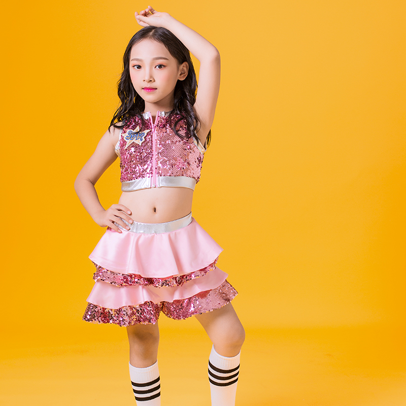 Hip Hop Dance Costumes Kids Sequined Sleeveless Top Skirts Stage Outfit Girls Cheerleading Child Street Dancing Clothes DNV10137-in Ballroom from Novelty & Special Use    3