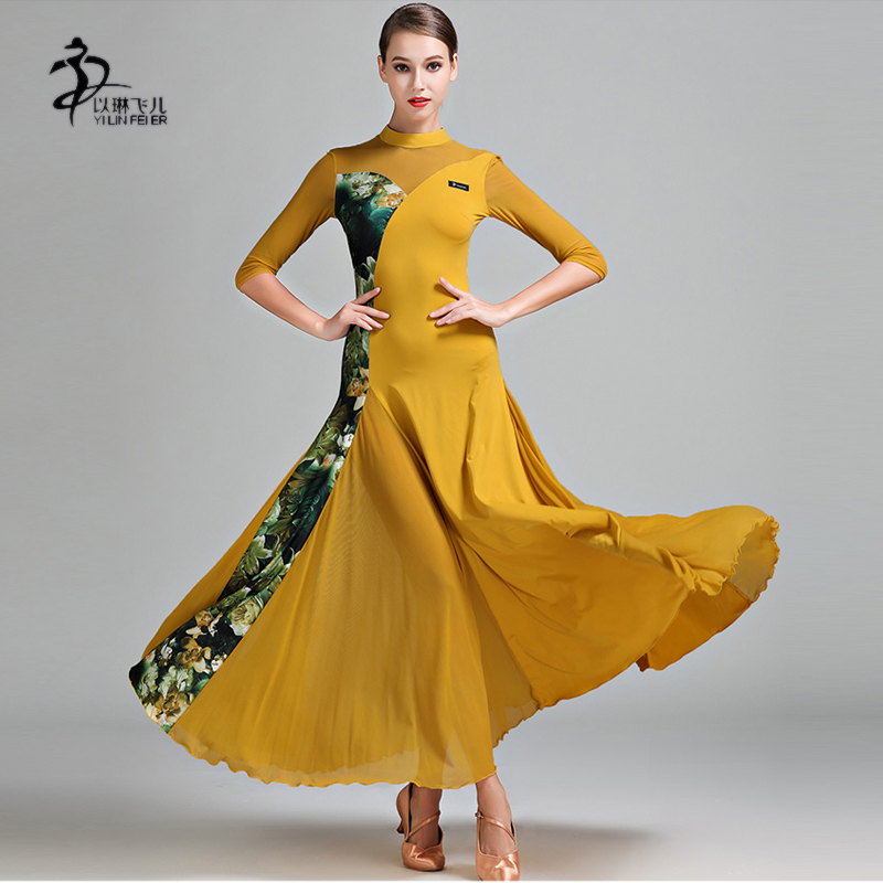 Show details for  New Women Dance Dress Ballroom Long Skirt Modern Waltz Competition Dress Girls Ballroom Standard Costume