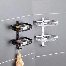 Черный/серебристый Настенный мыльница мыло Корзина Аксессуары для ванной комнаты алюминий Banheiro Ванна Аппаратные средства