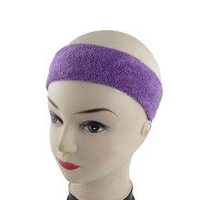 NEW Athletic Sports Terry Stretch Sweat Band Headband Purple 2 Pcs