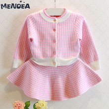 Menoea Girls Clothing Sets Fashion New Plaid Pattern Suits Spring Autumn Long Sleeve Jackets+Skirt 2Pcs for 3-7T Kids Suits 2pcs lot spring autumn baby little girls knitted ruffle skirt suits children kids girl jersey skirt sweater bow tie frillies
