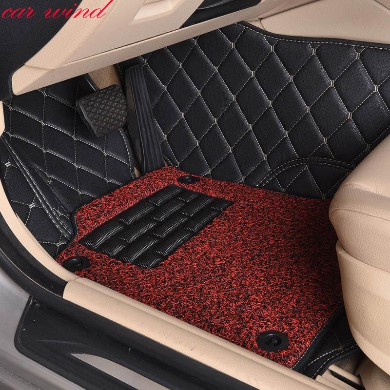 Car wind leather Auto car floor Foot mat for Volkswagen vw touareg vw passat b5 polo golf tiguan Cargo Carpets car accessories