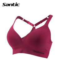 Santic Women Sports Bra Top Y Type Adjustable Straps Running Cycling Push Up Sticky Bra Sexy
