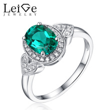 Leige Jewelry Green Emerald Ring for Women Silver 925 Oval Cut Classic Wedding Promise Rings with Stone Christmas Gift