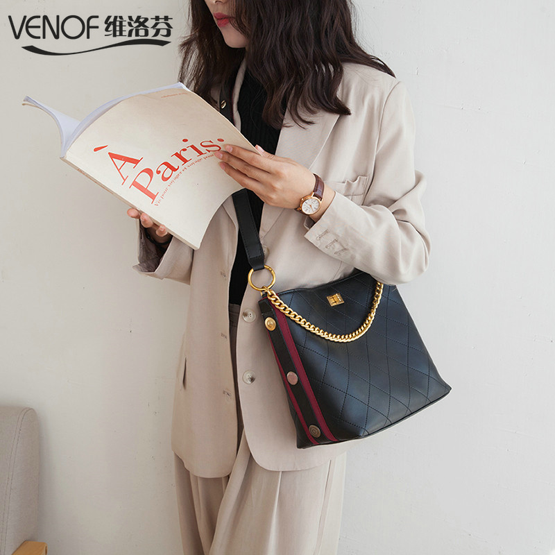 VENOF wide straps diamond lattice bucket bags split leather Shoulder Bags for women top grade luxury