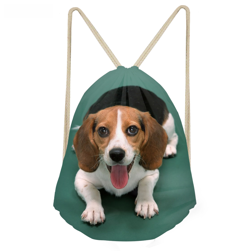 ThiKin Kawaii 3D Dog Beagle Printing Women Men Drawstrings Bags Softback Travel Storage Backpacks Multifunction Beach Bags000000