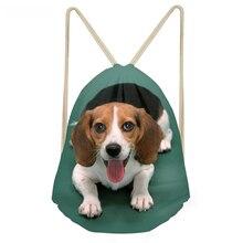 ThiKin Kawaii 3D Dog Beagle Printing Women Men Drawstrings Bags Softback Travel Storage Backpacks Multifunction Beach Bags000000