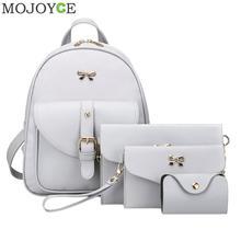 4pcs/set PU Leather Bowknot Backpack Women Shoulder Bag Backpack Clutch Bag Female Back Pack Leather Backpacks Rucksack Women