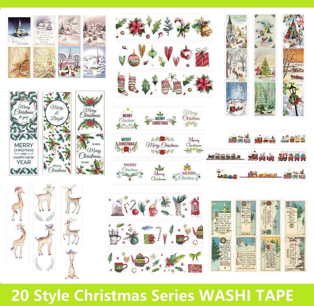 20 Style Christmas Tree/Santa Claus/Festival Gift Japanese Washi Decorative Adhesive DIY Masking Paper Tape Stickers Label