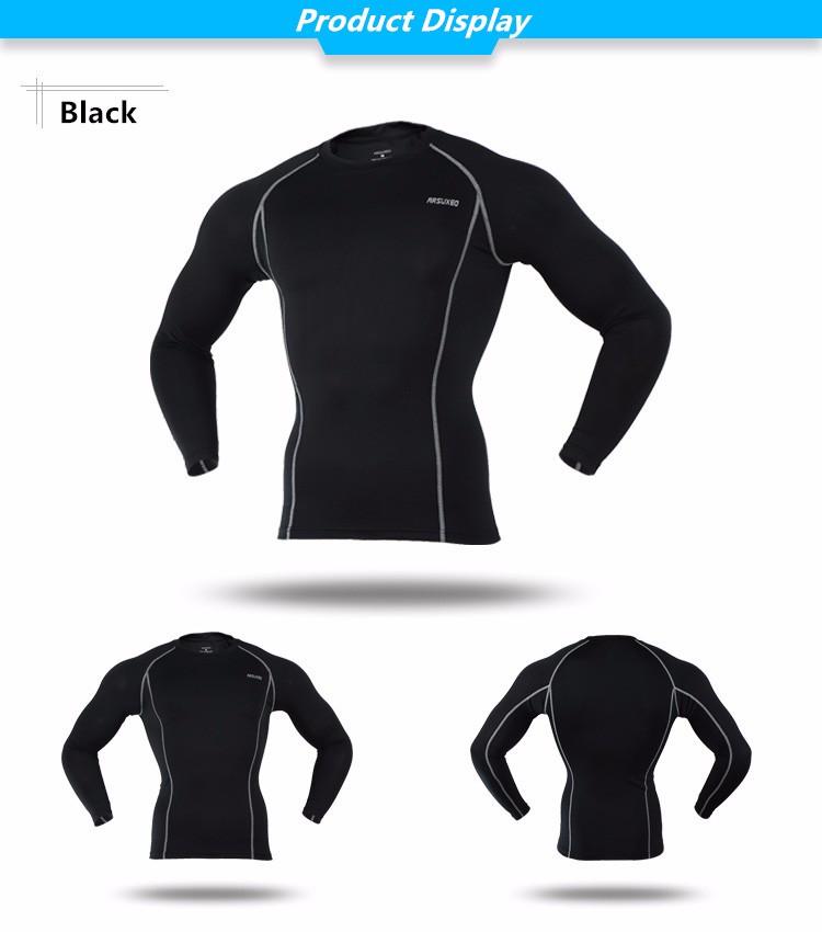 T-shirt de sport pour homme ARSUXEO noir, manches longues, moulant slim, gym musculation cyclisme running, vue de face et de dos