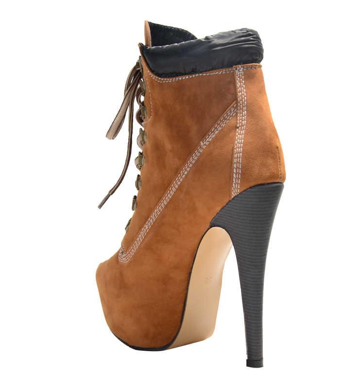 Arden Furtado 2018 nieuwe lente platform hoge hakken 15 cm stiletto mode camouflage enkellaarsjes schoenen vrouw lace up geel laarzen